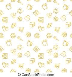 apiculture, linéaire, icônes, modèle, seamless, jaune, vecteur