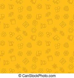 apiculture, modèle, seamless, jaune, vecteur, fond, ou