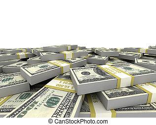 apilado, dólares, manojos, nosotros