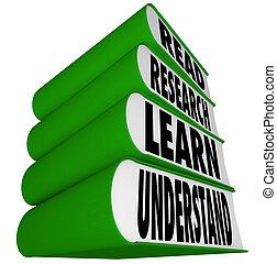 apilado, leer, -, investigación, libros, entender, aprender