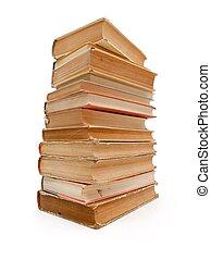 apilado, libros, viejo, colección