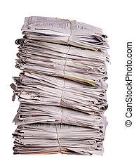 apilado, periódicos, viejo