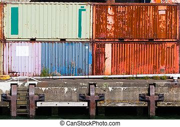 apilado, puerto, contenedores