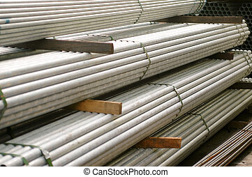 apilado, tubos, metal