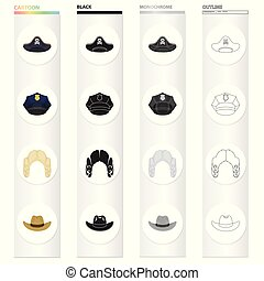 Apirate's cocked hat, a police cap, a judge's wig, a cowboy. Hats set collection icons in cartoon black monochrome outline style vector symbol stock illustration web.