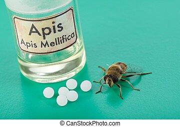 apis, mellifica, homeopatisk, biljard, gift, och, bi