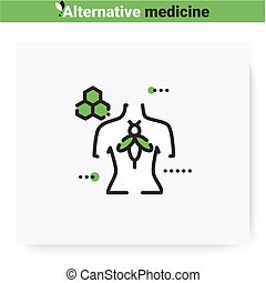 Apitherapy line icon.Treatment with beekeeping products.Holistic, natural medicine.Health care and wellness.Complementary and alternative medicine types. Isolated vector illustration.Editable stroke