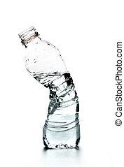 aplastado, botella de agua