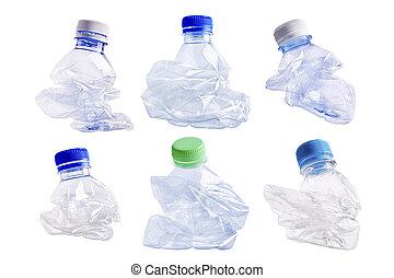 aplastado, botella, plástico