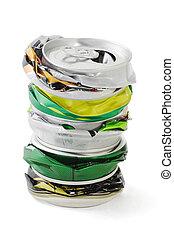 aplastado, latas, aluminio
