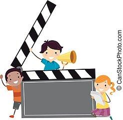 aplaudidor, crianças, stickman, tábua, ilustração