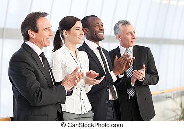 aplaudiendo, equipo negocio