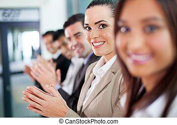 aplaudindo, grupo, pessoas negócio
