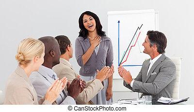 aplaudir, presentación, empresarios