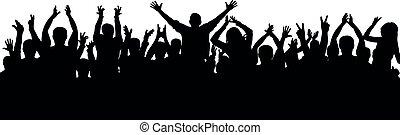 aplauso, torcida, pessoas, silhouette., alegre, audiência, aplaude
