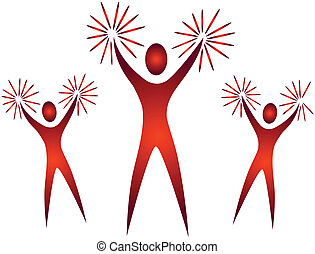 aplausos, aclamación, mano, líderes, accesorios