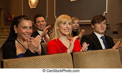 aplausos, audiencia, aplaudir, teatro