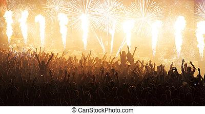 aplausos, concierto, multitud, inmenso