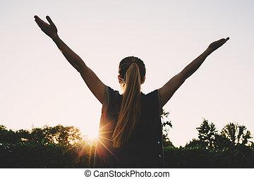 aplausos, mujer, pico, Montaña