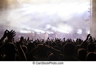 aplausos, multitud, en, un, concierto