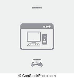 aplicação, ícone computador