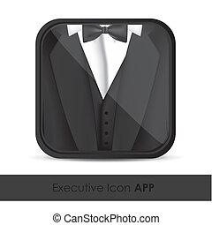 aplicação, ícone, executivos