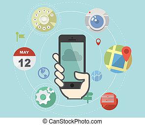 aplicação, apartamento, estilo, smartphone, ícones