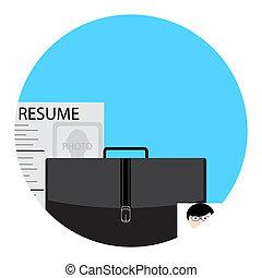 aplicação, busca trabalho, ícone