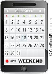 aplicação, calendário