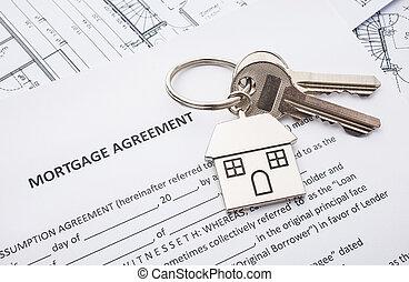 aplicação, empréstimo, acordo, hipoteca