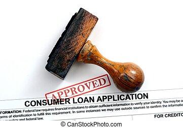 aplicação, empréstimo, -, aprovado