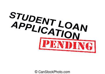 aplicação, empréstimo, estudante, pendente