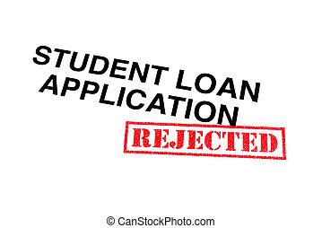 aplicação, empréstimo, estudante, rejeitado