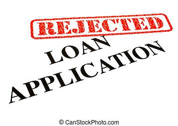 aplicação, empréstimo, rejeitado