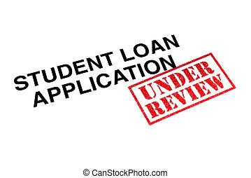 aplicação, empréstimo, revisão, estudante, sob