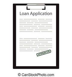 aplicação, empréstimo, vetorial