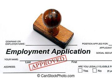 aplicação, emprego, -, aprovado