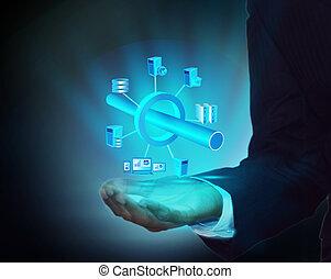 aplicação, empresa, conectividade