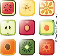 aplicação, fruta, ícones