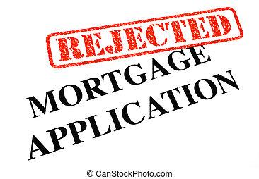 aplicação, hipoteca, rejeitado