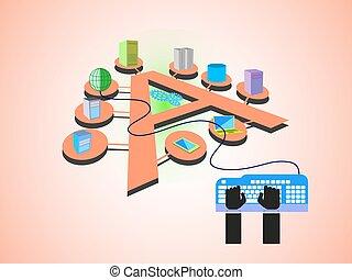 aplicação, integração, empresa