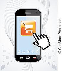 aplicação, smartphone, compra