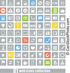 aplicação, teia, 81, cobrança, ícones