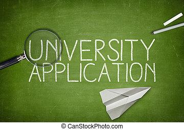 aplicação, universidade, conceito, quadro-negro