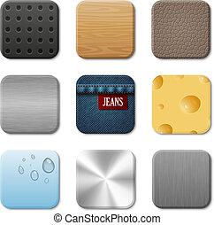 aplicação, vetorial, interface operador, ícone, pacote
