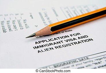 aplicação, visto, imigrante