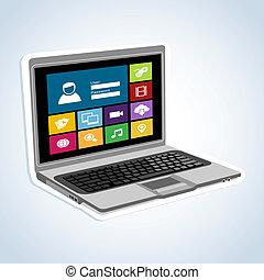 aplicações, computador, internet