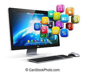 aplicações, conceito, computador, internet