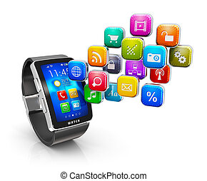 aplicações, conceito, relógio, esperto