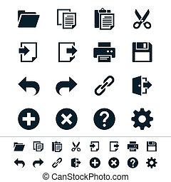 aplicación, barra de herramientas, iconos